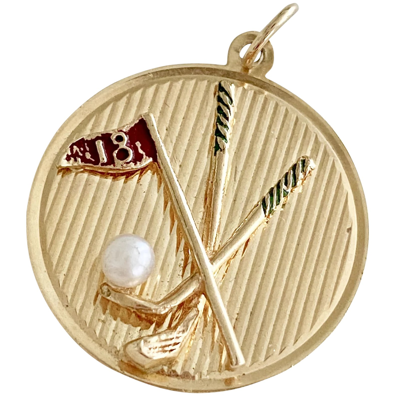Vintage 14k gold clubs and pearl medallioncharm