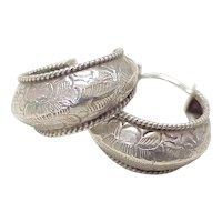 Handcrafted Vintage Hoop Earrings Sterling Silver South-West