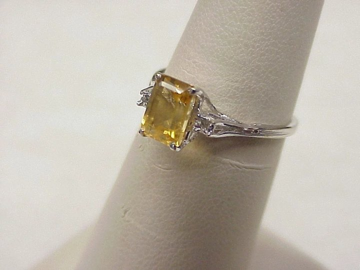 yellow ring new gold citrine diamond sapphire ct ladies blue