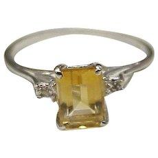 Vintage Citrine & Diamond Ring 10K White Gold