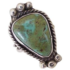 Navajo Crafted Vintage Ring Sterling Silver & Turquoise circa 1970's