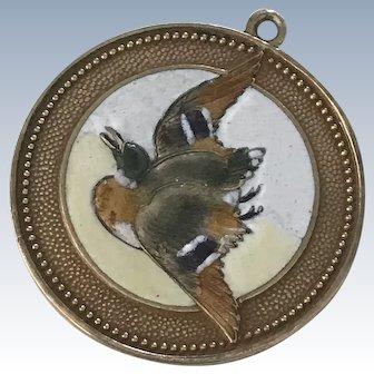 Duck Hunting Antique Charm 14K Gold Fire-Glazed Glass Enamel