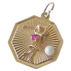 Jeweled Golf Vintage Charm 14K Gold Cultured Pearl & Ruby Accent