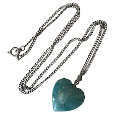 Native American Turquoise Heart Vintage Pendant / Necklace Sterling Silver