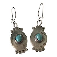 Native American Dangle Earrings Sterling Silver & Turquoise Bear Claw & Feather