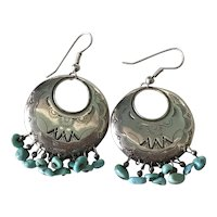 Native American Dangle Earrings Sterling Silver & Turquoise Relios Workshop