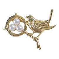 Bird With Nest Brooch / Pin 14K Gold Cultured Pearl & Diamond