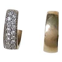 Reversible Huggie Hoop Earrings 14K Gold & Diamond .48 ctw