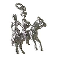 Spanish Dancing Andalusia Horse & Flamenco Vintage Charm Sterling Silver