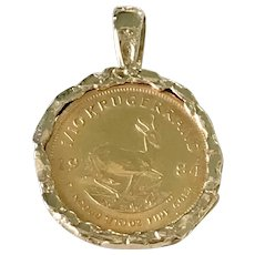 Gold Krugerrand Coin Pendant 14K Gold Settings  circa 1984