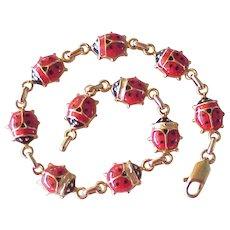 Vintage Ladybug Enameled Bracelet 14K Gold