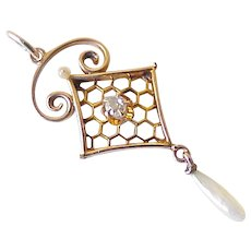 Lavaliere Victorian Pendant 10K Rose Gold Diamond, Seed Pearl & Fresh Water Pearl