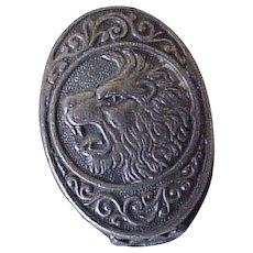 Ornate Fierce Lion Collar Clip Sterling Silver
