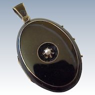 Victorian Mourning Locket 9k Gold With Black Enamel & Seed Pearl Accent