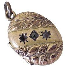 Victorian Era Locket Charm / Pendant Gold Filled Garnet Accent