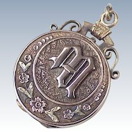 Victorian Fob Charm Mourning Locket  14K Rose & Yellow Gold With Floral Details