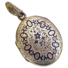 Victorian Era Locket Pendant Cobalt Enamel Accent, Keepsake / Mourning