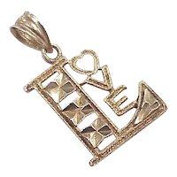 Vintage 14k Gold Romantic Charm / Pendant, LOVE circa 1980's
