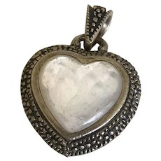 Reversible Heart Pendant Sterling Silver marcasite & mother of Pearl
