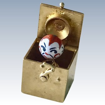 Mechanical Charm Jack In The Box Painted Porcelain Head 14K Gold
