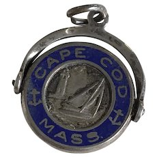Cape Cod Vintage Spinning Charm Sterling Silver Enamel Accent