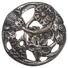 Victorian Era Sterling Silver Button, Floral Motif