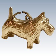 Scotty, Scottish Terrier Vintage Charm 14K Gold Three-Dimensional