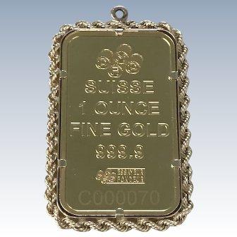 1 oz Fine Gold Suisse Bar Pendant, Love Always in 14K Gold Frame