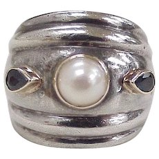 Cultured Pearl & Sapphire Wide Band Fashion Ring Sterling Silver 14K Gold