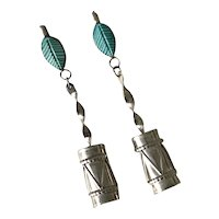 Native American Long Dangle Earrings Turquoise Feather / Drum Design