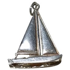 Catamaran Sail Boat Vintage Charm Sterling Silver Three-Dimensional