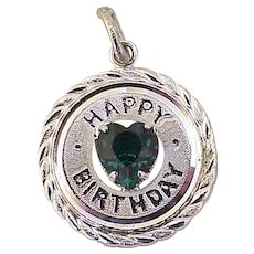 Jeweled Vintage Birthday Charm Sterling Silver & Faux Emerald by Danecraft