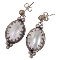 Mabe' Pearl Dangle Earrings Sterling Silver