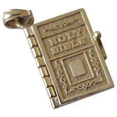 Moving Holy Bible Estate Charm 14K Gold, The Lords Prayer Inside, 4 Pages