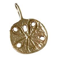 Sand Dollar Nautical Charm 14K Gold Three-Dimensional