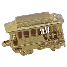 Moving Cable Car Vintage Charm 14K Gold Three-Dimensional circa 1970's