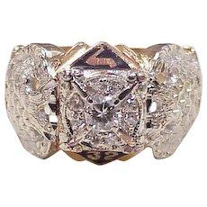 Masonic Diamond Ring 32nd Degree 14K Two-Tone Gold