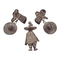 Vintage Pendant & Earring Set MEXICO circa 1940-50's Sterling Silver