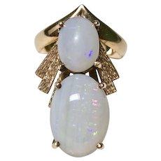 Unique Natural Opal Custom Vintage Ring 14K Gold circa 1960-70's