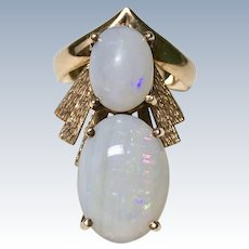 Unique Natural Opal Custom Vintage Ring 14K Gold circa 1960-70's