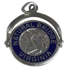 Natural Bridge Virginia Vintage Spinning Charm Sterling Silver Enamel Accent