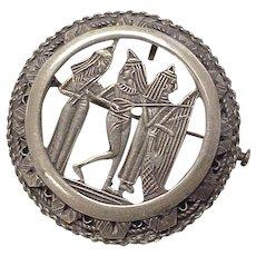 Victorian Era Brooch/Pendant, Egyptian Sterling Silver
