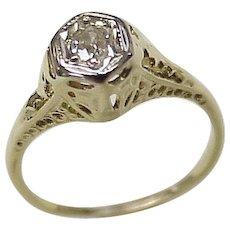 Art Deco Diamond Solitaire Ring 14K Two-Tone Gold Filigree