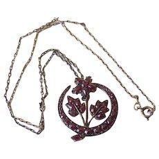 Victorian Bohemian Garnet Pendant Necklace Sterling Silver Gold Wash