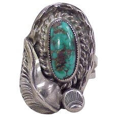 Navajo Crafted, Yazzie Ring Sterling Silver & Turquoise circa 1960's