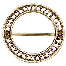 Vintage Circle Brooch 10K Gold Simple Filigree Design