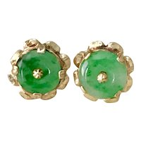 Apple Green Jade Vintage Earrings 18K Gold
