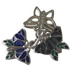 Three BUTTERFLY Vintage Charms Sterling Silver Enameled