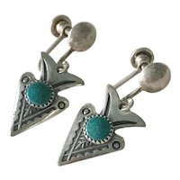 Vintage Native American Screw-Back Earrings Sterling Silver & Turquoise Arrow Design