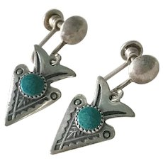 Vintage Native American Screw-Back Earrings Sterling Silver & Turquoise Arrow Design
